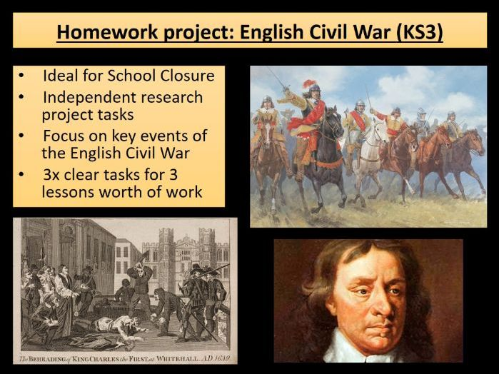 Home learning KS3 History - English Civil War - ideal for school closures