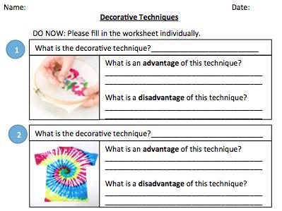Decorative Techniques - Do Now