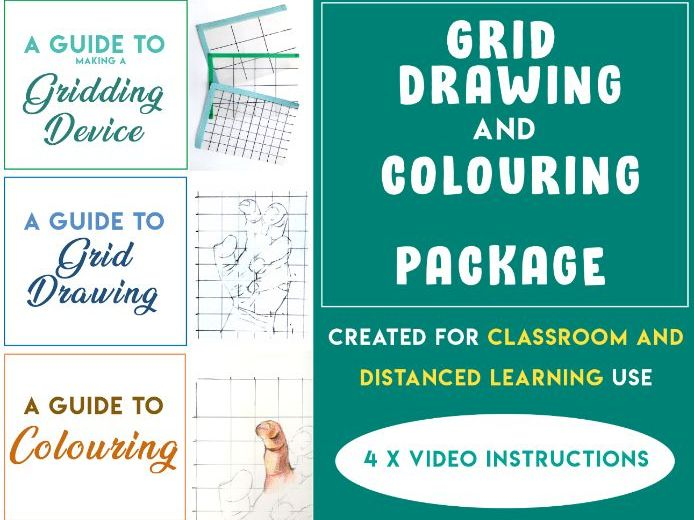 Grid Drawing and Colouring Package [Classroom and Home Learning - 4 videos]