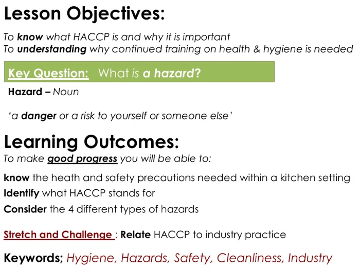 HACCP - Food Safety Lesson with Question Sheet and  Plenary cards