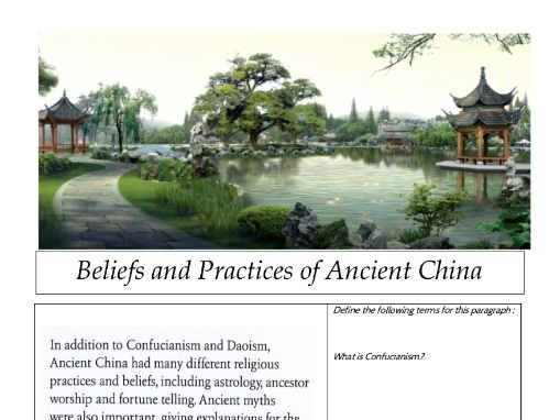 Beliefs and Practices of Ancient China - Year 8 History - Remote Learning