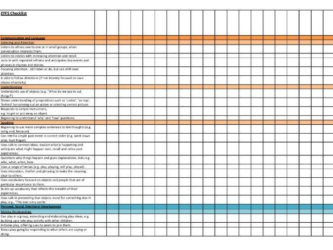 EYFS 30 - 50 months checklist