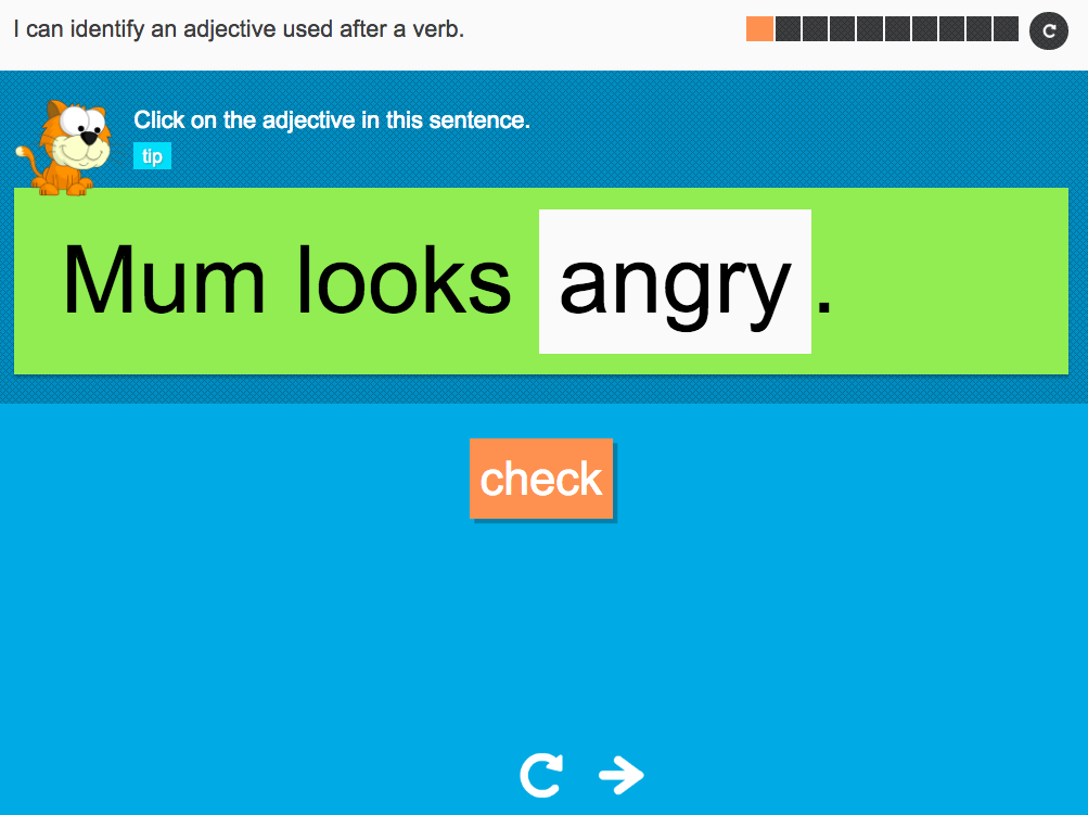 I can identify an adjective used after a verb - Interactive Activity - Year 2 Spag