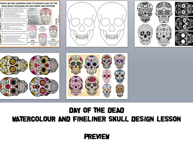 Day of the Dead Watercolour skull design lesson