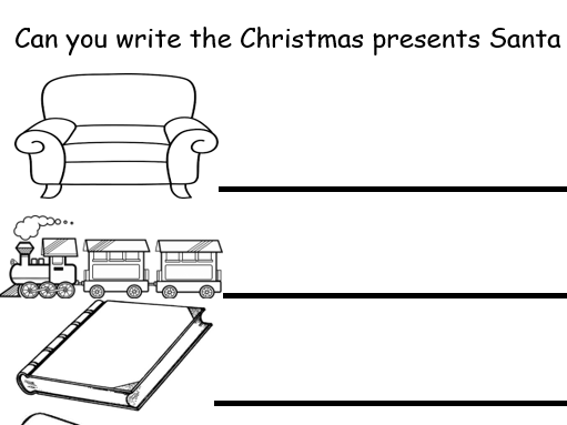 Christmas Present List Writing - 2 worksheets