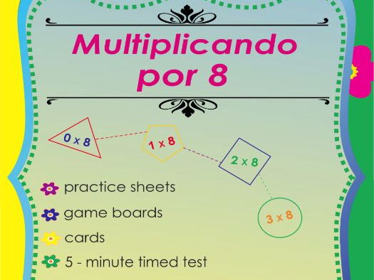 Multiplicando Por 8 - Spanish Multiplication Math Games and Lesson Plans