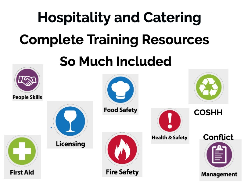 Hospitality & Catering, level 1/2, Including Health & Safety Training Course Materials