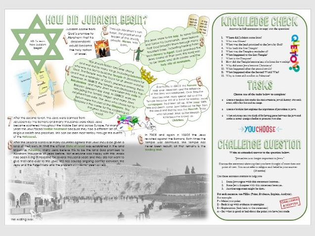 Judaism: History of Judaism: How did Judaism begin? Task Mat