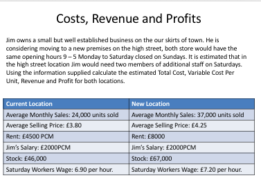 A Level Business - Basic Calculation Revision Activities