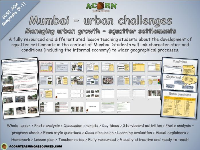 Urban issues and challenges - Mumbai (managing urban growth - squatter settlements)