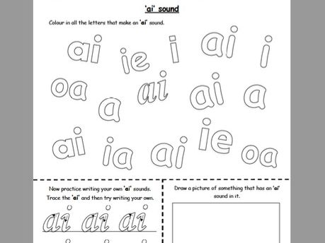 ai, j, oa, ie, ee and or phonics worksheet booklet