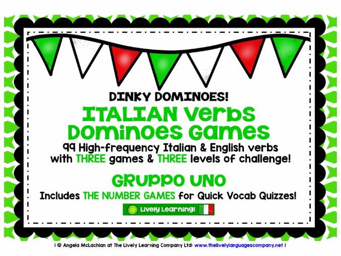 ITALIAN VERBS (1) - 3 DIFFERENTIATED DOMINOES GAMES