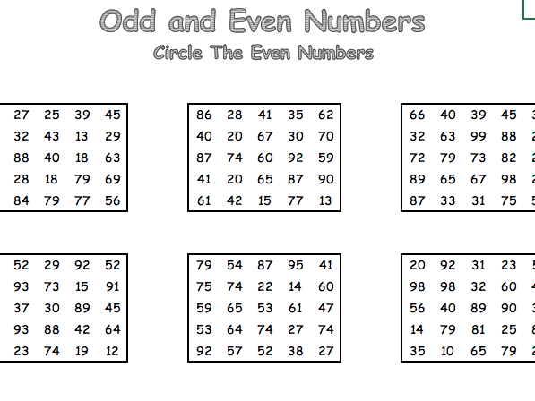 KS1 Odd and Even Number Sheets
