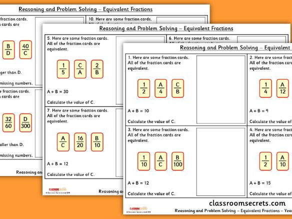 Year 5 Equivalent Fractions WRM Spring Block 2 Reasoning and Problem Solving Pack