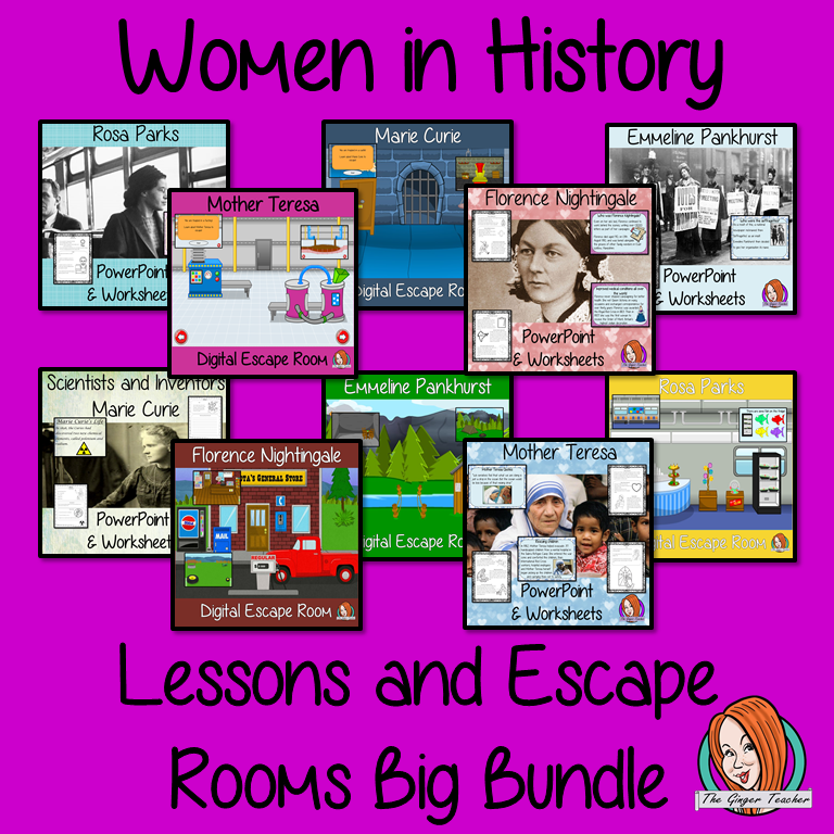 Women in History Lessons and Escape Rooms Big Bundle