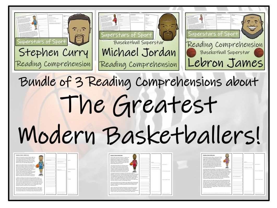 UKS2 Literacy - Greatest Modern Basketball Players Bundle of Reading Comprehensions