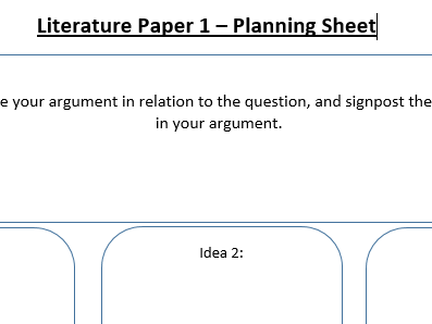 AQA Literature Paper 1 Planning Sheet