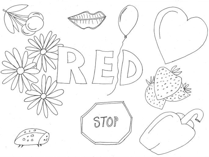 Red: Colours: Colouring Sheet