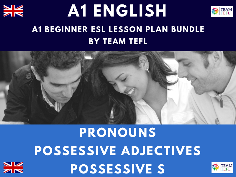 Pronouns / Possessive Adjectives / Possessive S A1 Beginner ESL Lesson Plan Bundle