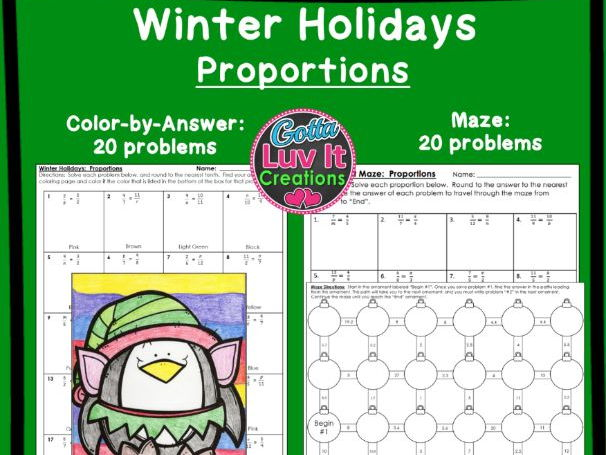 Proportions Winter Bundle - Maze & Color by Number
