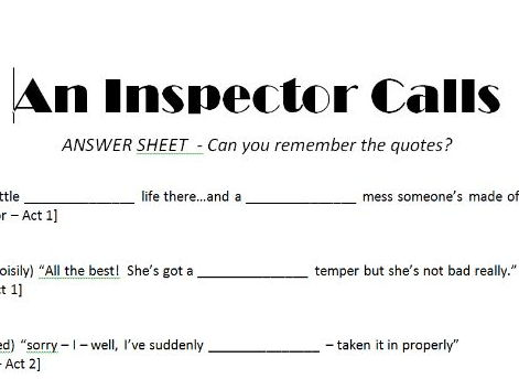 an inspector calls template answer