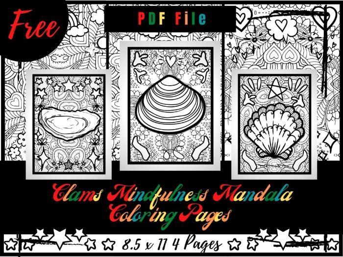 FREE Clams Mindfulness Mandala Coloring Pages, FREE Animals Coloring Printable Sheets PDF