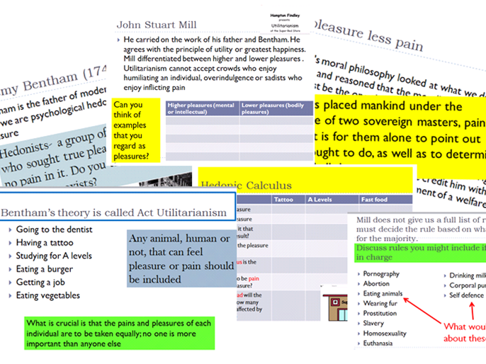 OCR Religious Studies H173 Ethics, Rule & Act Utilitarianism, Bentham & Mill . Full lessons
