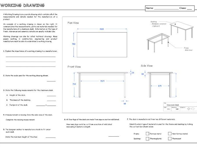Working Drawing A3 Worksheet