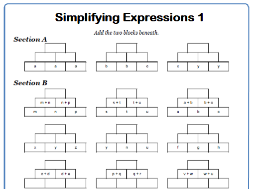 Simplifying Expressions Maths Worksheet 1