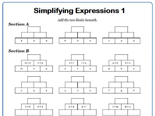 Simplifying Expressions Maths Worksheet 1