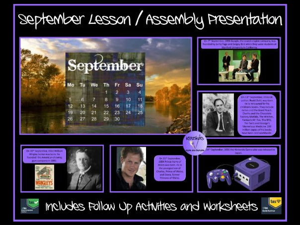 September PowerPoint Lesson / Assembly Presentation and Follow Up Worksheets and Activities
