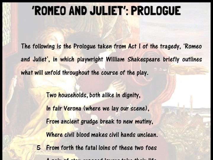 'Romeo and Juliet' prologue