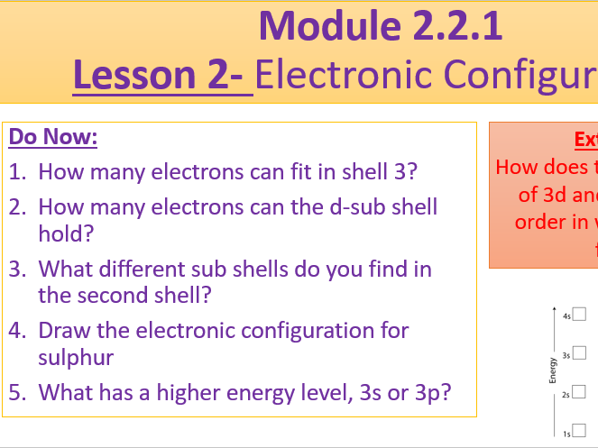 A Level Chemistry OCR A Module 2.2.1 Lesson 2- Electronic Configuration