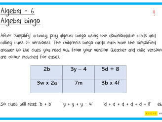 Algebra Challenges F2 to Y6