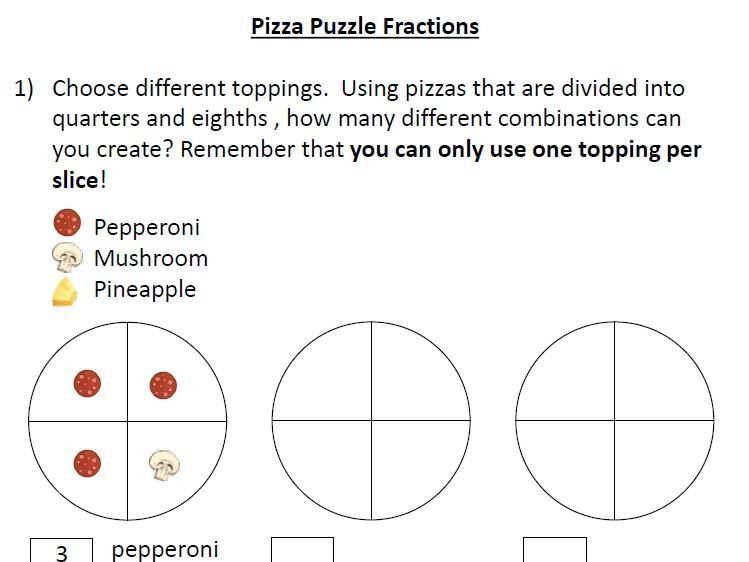 Pizza Puzzle Fractions
