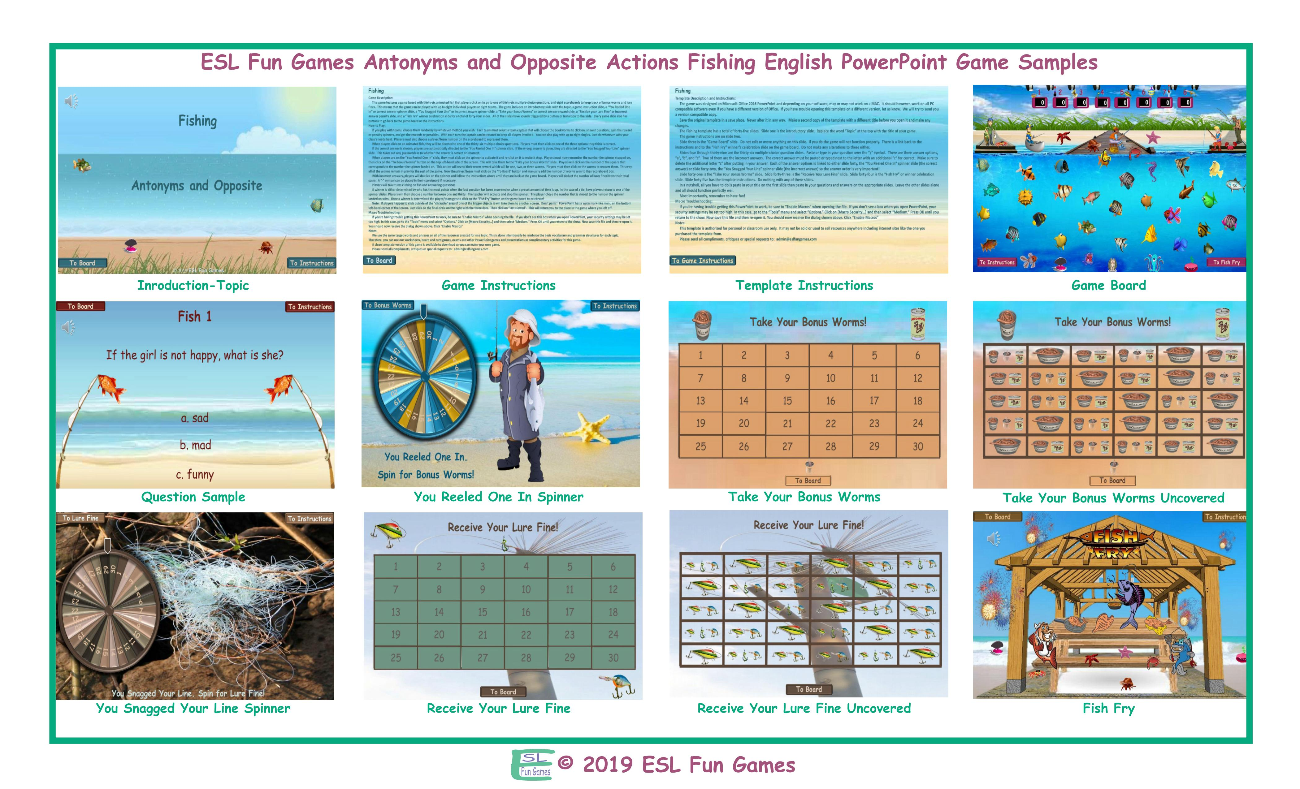 Antonyms and Opposite Actions Fishing Interactive English PowerPoint Game
