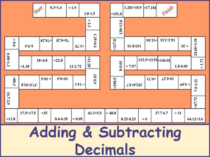 Adding and Subtracting Decimals Dominoes