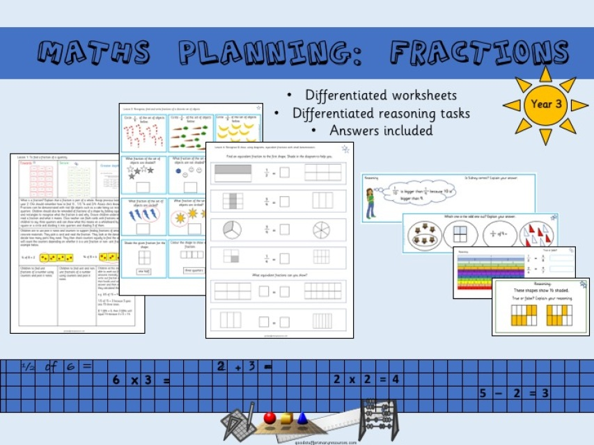 Year  3 differentiated fractions planning and worksheets
