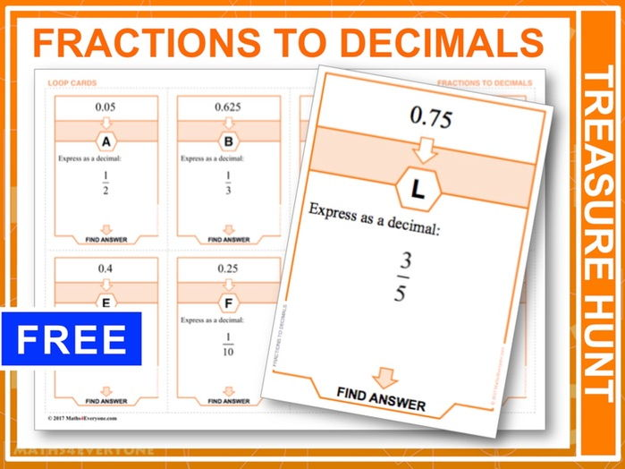 Fractions to Decimals (Treasure Hunt)