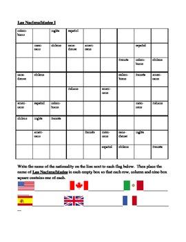 Nacionalidades (Nationalities in Spanish) Sudoku