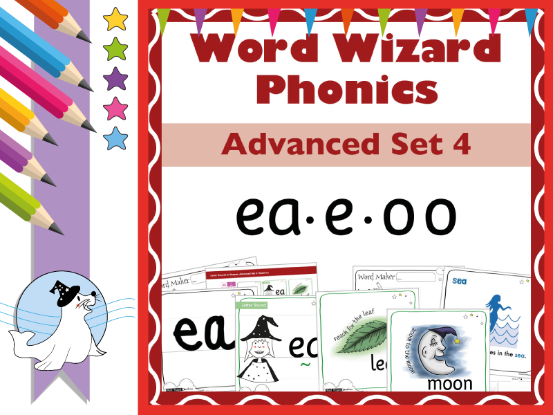 Word Wizard Phonics Advanced Set 4: Vowels ea.e.oo