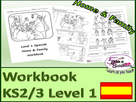 SIX SHEET PRIMARY KS2/3 SPANISH COPIABLE WORKBOOK: Family; names, ages to 20, brothers & sisters