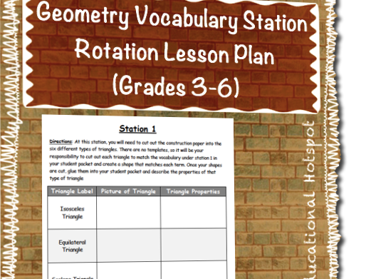 Geometry Vocabulary Station Rotation Lesson Plan (Grades 3-6)