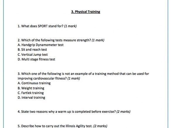 GCSE AQA PE- End of unit mini questions