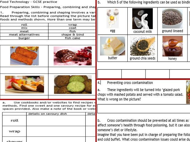 NEW GCSE Food Technology 4: Food Prep skills 7-page wkbk, cover, revision... +cue cards