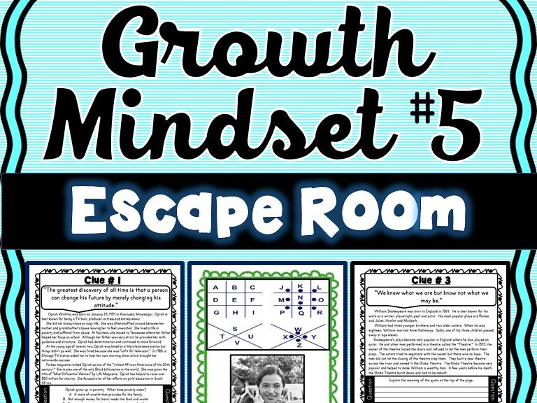 Growth Mindset ESCAPE ROOM #5 Activity: Inspirational Quotes from Famous Figures