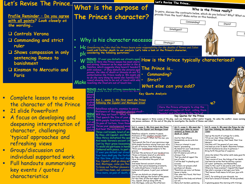 The Prince Revision Lesson - Romeo and Juliet