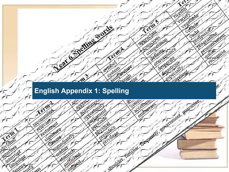 National Curriculum Spelling Words Year 6