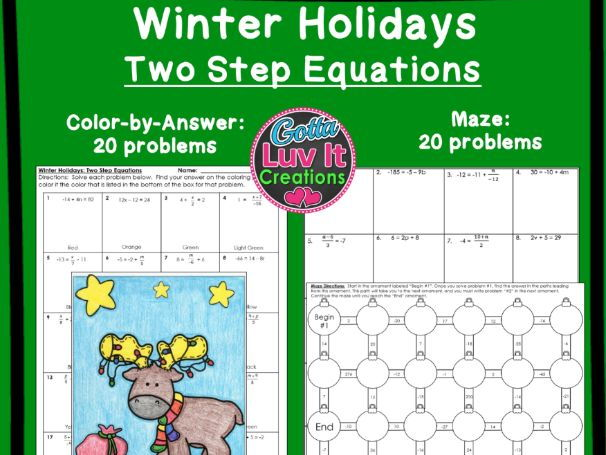 Two Step Equations Winter Bundle - Maze & Color by Number