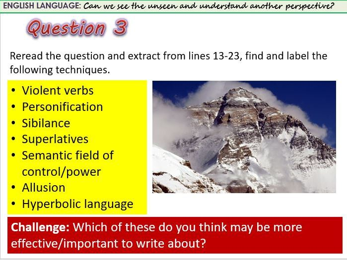 AQA Language Paper 2 Question 3 Lesson - observation